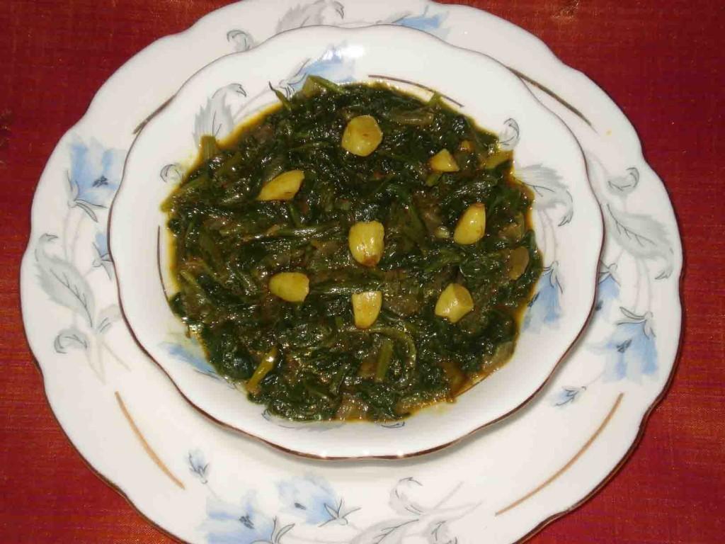 Morogo wa Setswana cooked in peanuts