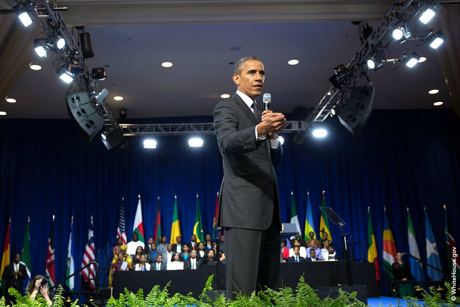 President Barack Obama delivers remarks and participates in a Young African Leaders Initiative (YALI) town hall at the Omni Shoreham Hotel in Washington, D.C., July 28, 2014 (Official White House Photo by Pete Souza)