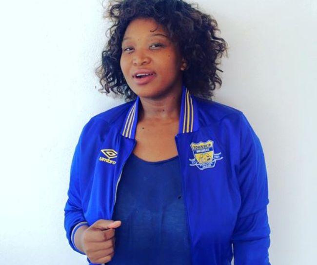 Photo of Tumi Gabonamong Rooting For Her Husband's Team