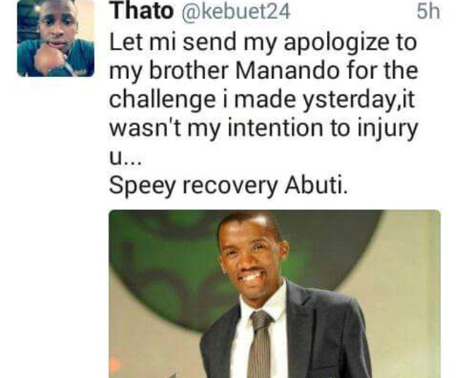 Photo of Thato Kebue Apologizes To Sekhana Koko