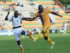 Terrance Mandaza  of Township Rollers and Desire Bafana of Extension Gunners during beMobile sponsored Botswana premier league match between Township Rollers and Extension Gunners at the Lobatse stadium on 19 March 2016. MONIRUL BHUIYAN/Backpage pix
