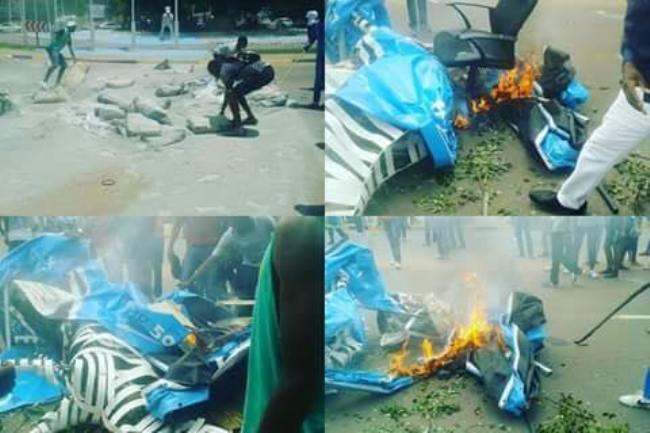Photo of UB Students Burn The BOT50 Zebra And National Flag As They Strike Over Delayed Allowance