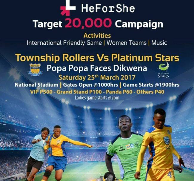 Photo of HeforShe Target 20 000 Campaign Brings Township Rollers Against Platinum Stars