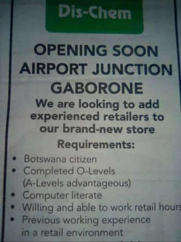 Photo of Workers wanted at Dis-Chem Airport Junction