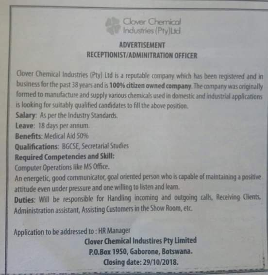 Photo of CloverChemical wants a receptionist