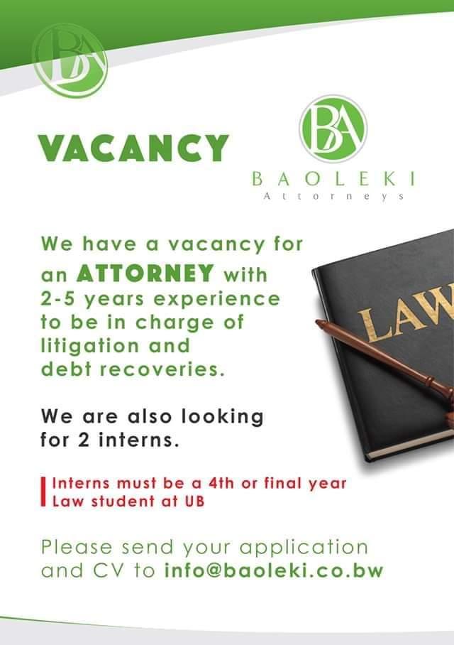 Photo of Baoleki wants law interns