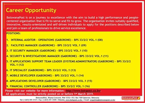 Photo of BotswanaPost is offering careers