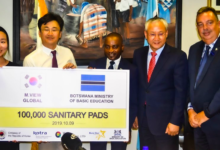 Photo of Korean Embassy Donates Sanitary Pads To The Ministry of Basic Education