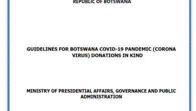 Photo of GUIDELINES FOR BOTSWANA COVID-19 PANDEMIC (CORONA VIRUS) DONATIONS IN KIND