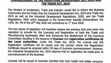 Photo of COMMENCEMENT OF THE INDUSTRIAL DEVELOPMENT ACT, 2019 AND THE TRADE ACT, 2019