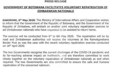 Photo of GOVERNMENT OF BOTSWANA FACILITATES VOLUNTARY REPATRIATION OF ZIMBABWEAN NATIONALS