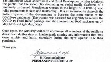 Photo of PRESS RELEASE – RESPONSE TO MISLEADING COVID-19 FOOD BASKET CIRCULATING VIDEO – MONARCH LOCATION IN FRANCISTOWN