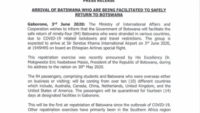 Photo of ARRIVAL OF BATSWANA WHO ARE BEING FACILITATED TO SAFELY RETURN TO BOTSWANA