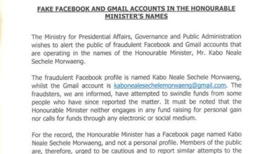 Photo of Fake Facebook And Gmail Accountss In The Honourable Minister`s Names